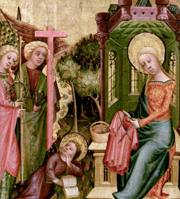 The altarpiece (part of the right wing, showing the visitation of two angels with the symbols of the Passion. The infant Christ looks up from his reading, while his mother knits a 'seamless garment' in the round, again anticipating the Crucifixion (John 19:23-24).