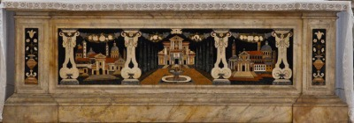 A Palladian villa pops up in the middle of an altar front in Santa Giustina.
