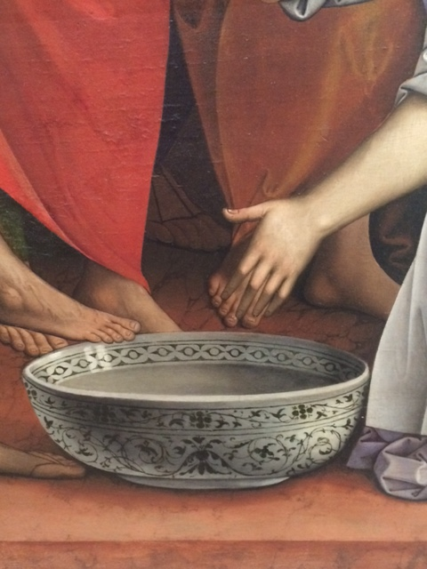 'Christ washing the disciples' feet' with a luxurious eastern bowl, by Giovanni Agostino di Lodi.