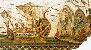 Sirens trying to lure a rather stolid Ulysses on sure: mosaic from the Roman town of Bardo in Tunisia.