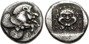 Another coin from Clazomenae, where the flying pig has a gorgon on the reverse.