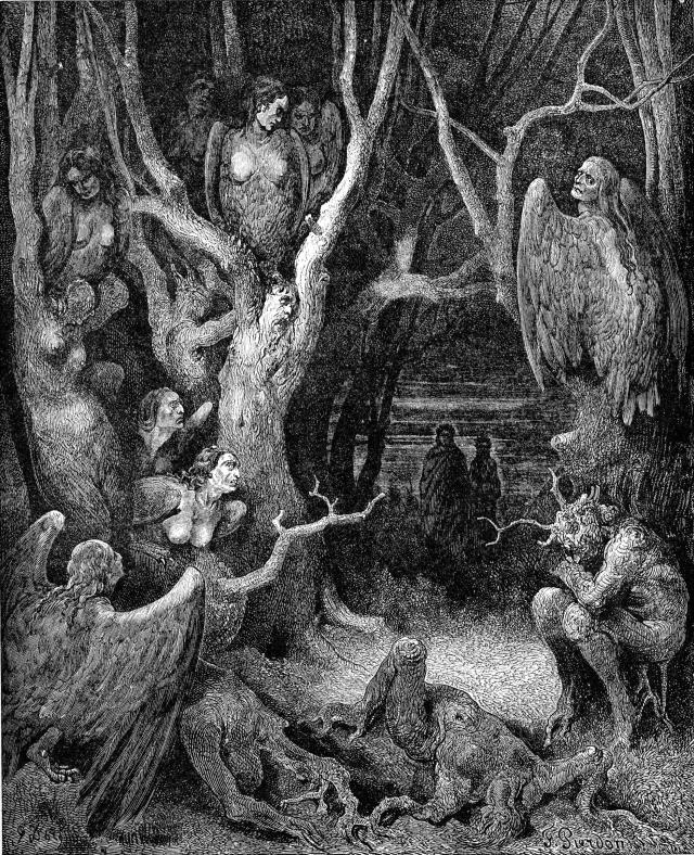The grove of suicide-trees, in Gustave Doré's famous illustration of Dante.