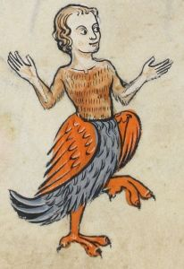 A medieval harpy, looking quite jolly.