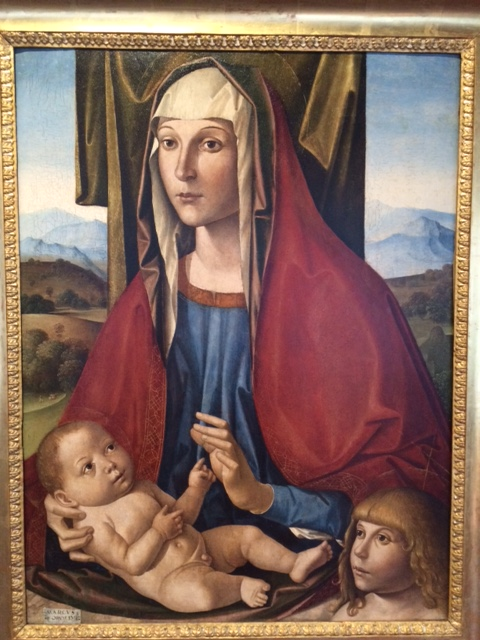 Marco Palmezzano (1459–1539) has produced a baby with no neck, and rathewr larger than his older cousin St John. (Padua, the Eremitani Museum)