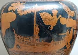 In this famous red-figure jar, a harpy-like siren is falling into the sea after failing to seduce the Ithacan crew.