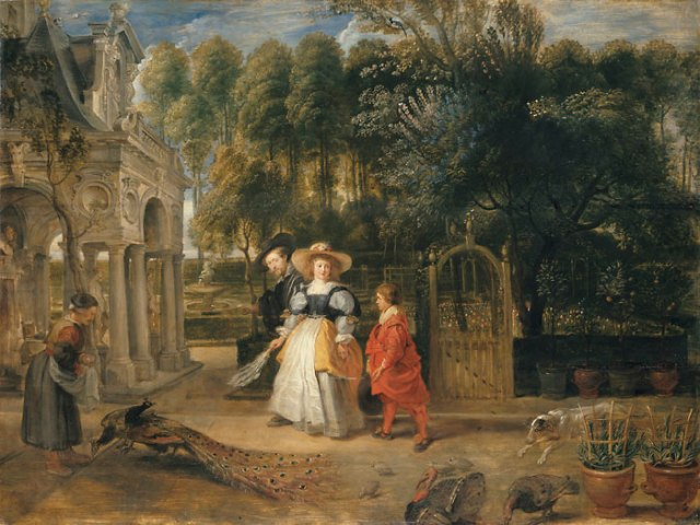 Rubens and Helena with their son Frans in the garden. (Alte Pinakothek, Munich)