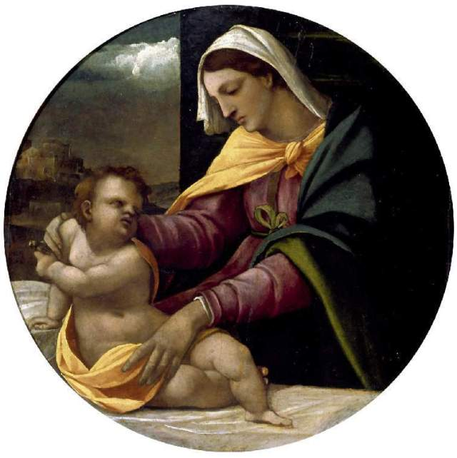 Madonna and child by Sebastiano del Piombo, in the Fitzwilliam Museum, Cambridge. Again, disproportionately long, fat, thighs ...