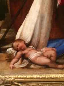 This detail from the recently restored 'Adoration of the Shepherds' in the Fitzwilliam Museum shows that Sebastiano could do a bit better, though the legs are still far too long.