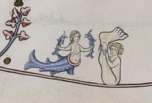 A siren and a sciopod, from the Pontifical of Renaud de Bar (c. 1310. (Credit: Fitzwilliam Museum)
