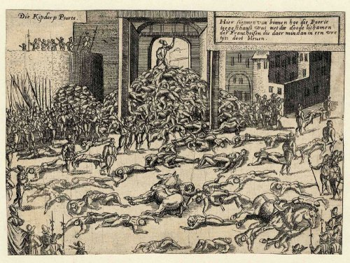 Comtemporary print of the sack of Antwerp, in which as many as 7,000 people may have died.