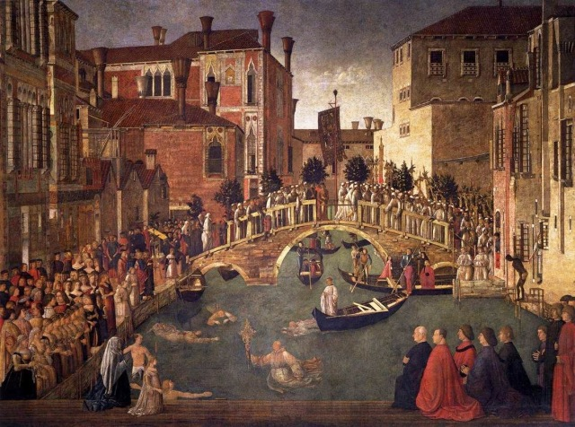 Bellini also depicted Caterina in his 'Miracle of the True Cross at the Bridge of San Lorenzo': dressed in black, she kneels at the front of a row of pious ladies.