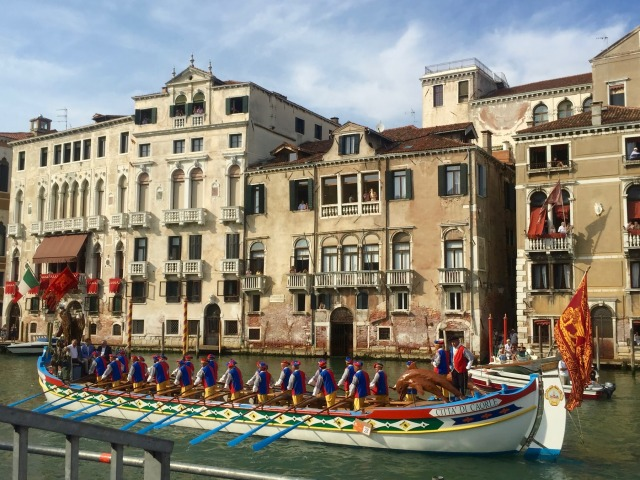 The procession: smartly turned-out representatives of Caorle, a coastal town north-east of Venice.