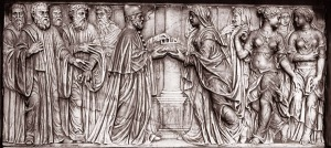 Detail of the tomb, showing Caterina handing her crown to the Doge.