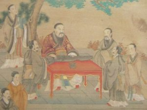 Confucius and disciples under a ginkgo.