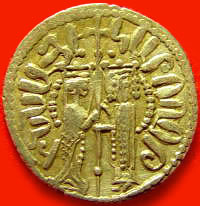 A gold coin showing Isabella and Hethum as king and queen.
