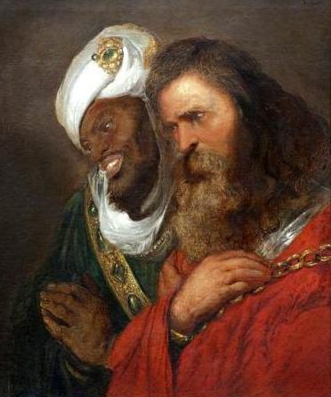 A despondent Guy with his captor Saladin, as imagined by the Dutch historical artist Jan Lievens in 1625.