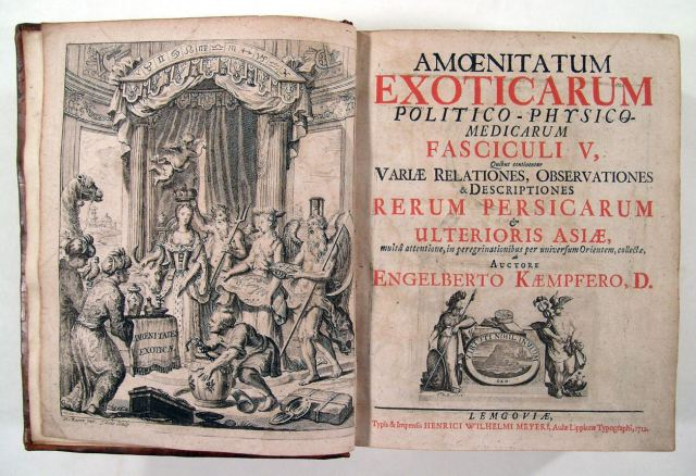 The frontispiece and title page of Kaempfer's Amoenitatum exoticarum (1712): 'exotic delights' from the Orient (including a camel) are presented to Europa.