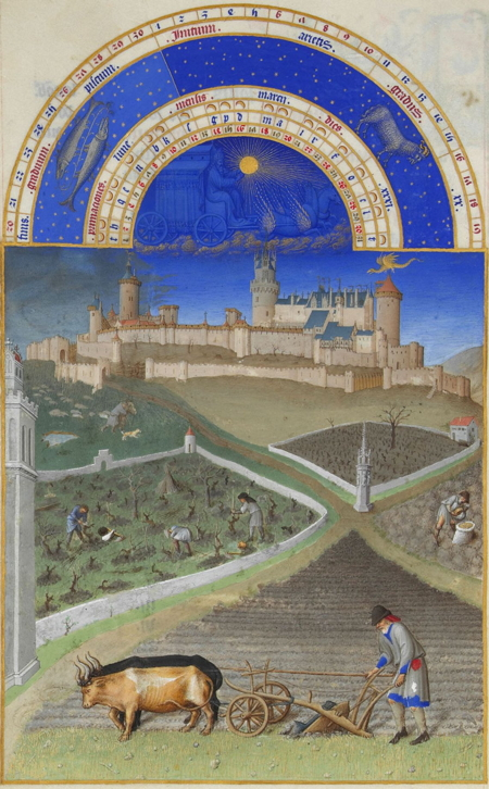 March, from the Très Riches Heures, showing early spring agricultural activities below the castle of Lusignan as it looked in the fifteenth century.