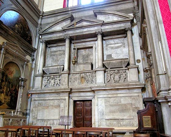 The monumental tomb of Caterina Cornaro in San Salvador.