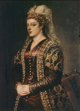 This glamorous and imaginary portrait was painted by Titian in 1542 and in now in the Uffizi, Florence.