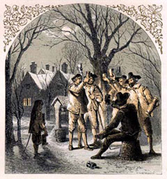 A Victorian image of seventeenth-century wassailing among the apple trees.