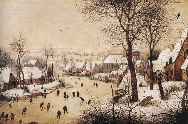 Pieter Breugel the Elder, 'Winter Scene with a Bird Trap'. Men are skating, playing kolf and curling, while boys spin tops, and a mother takes toddler for a walk. (Credit: Kunsthistorisches Museum, Vienna)