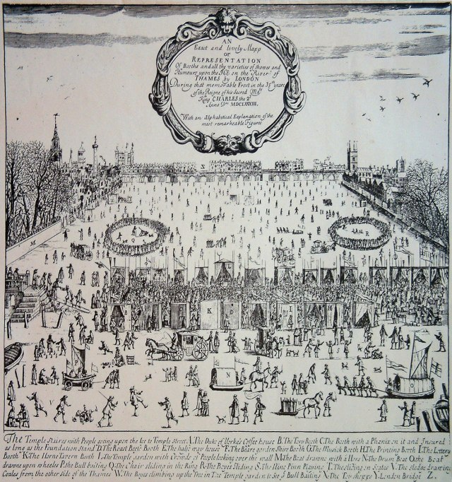 A print showing the 1683–4 fair: features shown include the bull-baiting (centre left) and 'chair-sliding' in the ice (centre right).