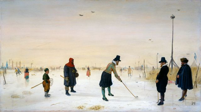 Mn playing kolf on the ice, by Hendrick Avercamp ( ). (Credit: Houstom Museum of Fine Art)
