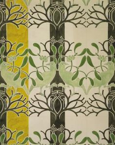 Wallpaper by C.F.A. Voysey (1857–1941), architect and designer who was a leading light of the Arts and Crafts Movement.