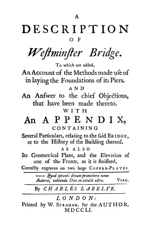 The title page of Labelye's 1751 book.