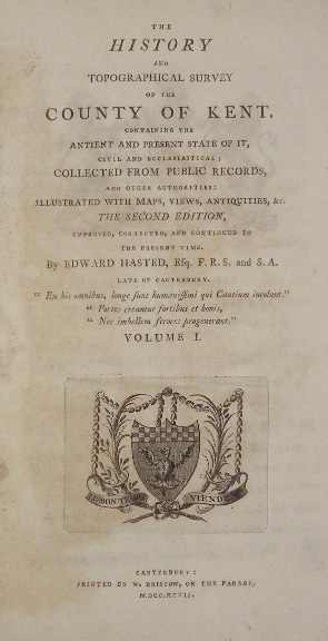 The title page of Hasted's work.