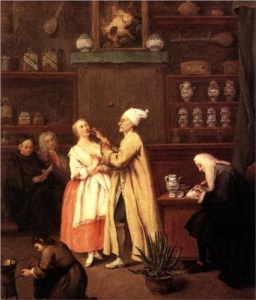 Longhi's pharmacist. Note the array of jars and glass vessels on his shelves.