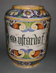 This Venetian jar contained mostarda, either mustard or (more likely from the size) pickled fruits.