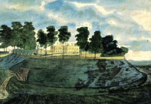 The now demolished house in the centre of Wandlebury Ring, the Iron-Age hillfort just outside Cambridge.