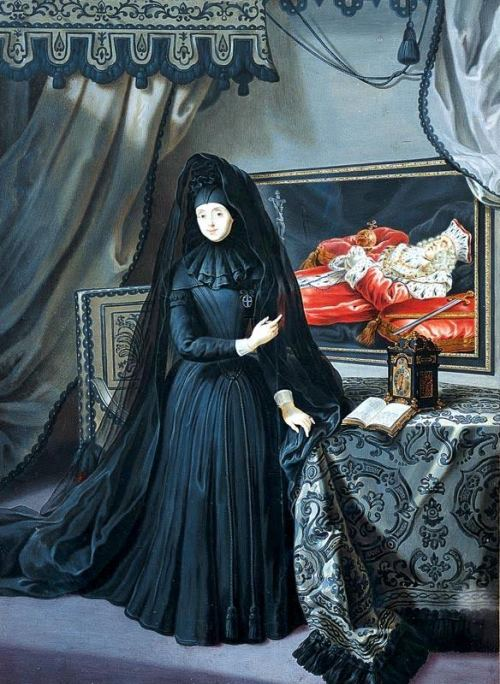 Anna Maria Luisa in widow's weeds, gesturing towards her husband, who lies in state. By Jan Frans van Douven.