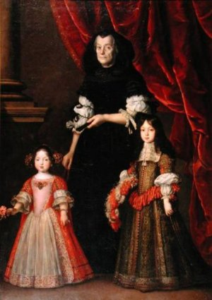 This picture allegedly shows Anna Maria and Ferdinando with their governess – but is the woman in fact their widowed grandmother?