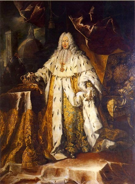Gian Gastone de' Medici in his coronation robes, by Franz Ferdinand Richter, 1737. (Credit: Pitti Palace, Florence.)