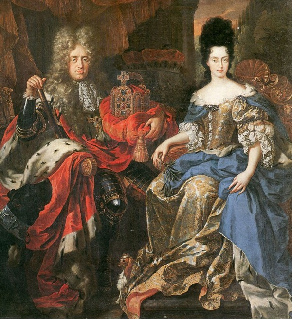 Johann Wilhelm and Anna Maria Luisa, with the electoral crown between them, by Jan Frans van Douven, 1708. (Credit: the Uffizi Gallery, Florence)