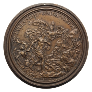 A bronze medal showing Hercules choosing the path of virtue: a compliment to Gian Gastone. (Credit: the Fitzwilliam Museum, Cambridge.)