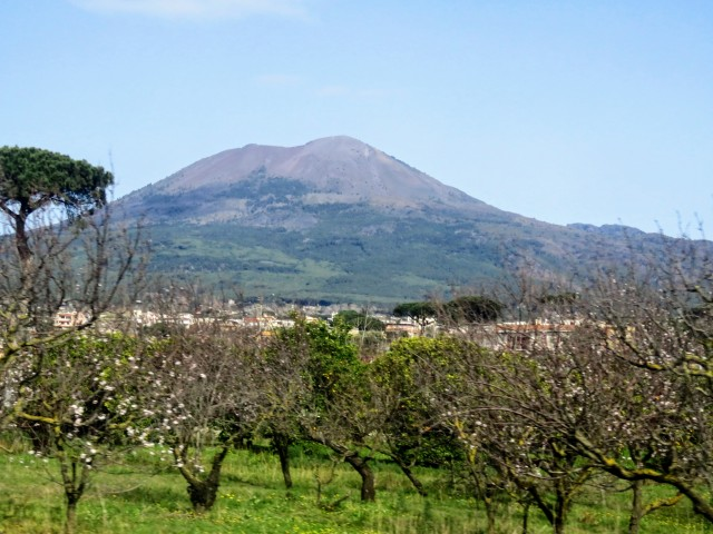 Vesuvius from Pompeii:the distance of the mountain itself from both sites in itself gives an insight into the immensity of the destructive event.
