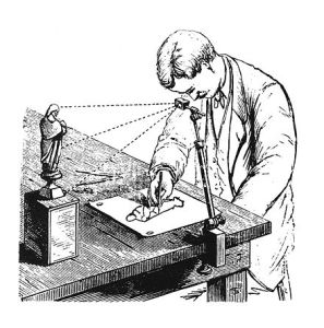 The camera lucida in use on a small-scale drawing, from a late nineteenth-century encyclopaedia.