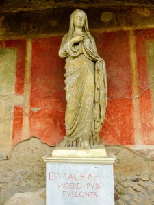 This statue of Eumachia is a replica, the original now being kept in the National Archaeological Museum at Naples.