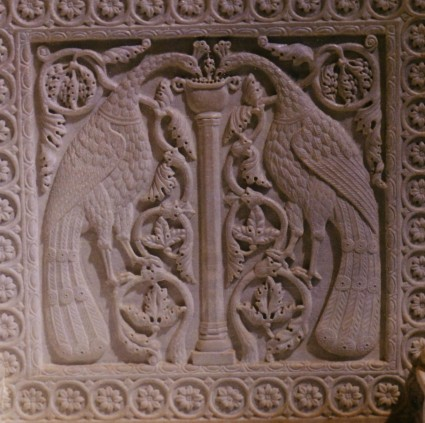 Byzantine marble panels from the cathedral of Santa Maria Assunta, Torcello: peacocks among foliage (above) and lions (below).